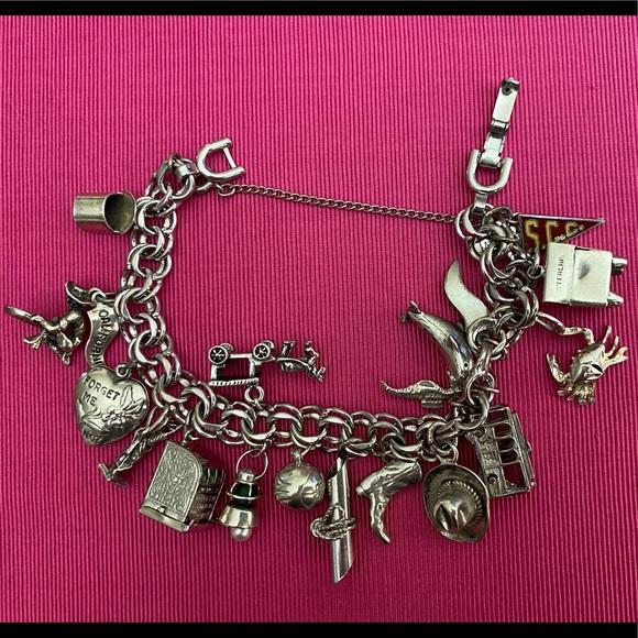 Monet silver sterling charm bracelet